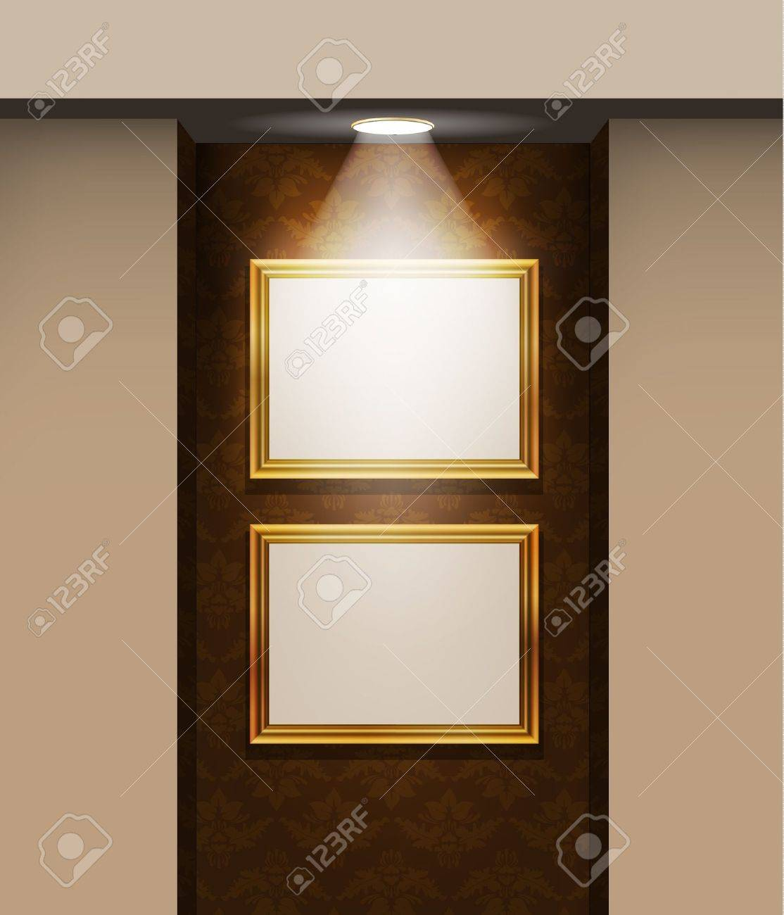 Picture frames on the wall in the room Stock Vector - 11082635