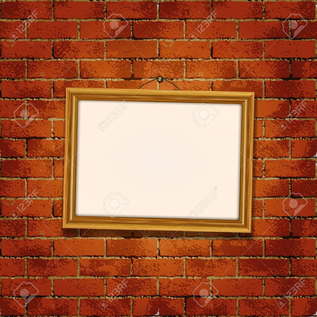 Old Wooden Frame On The Grunge Brick Wall Royalty Free Cliparts ...