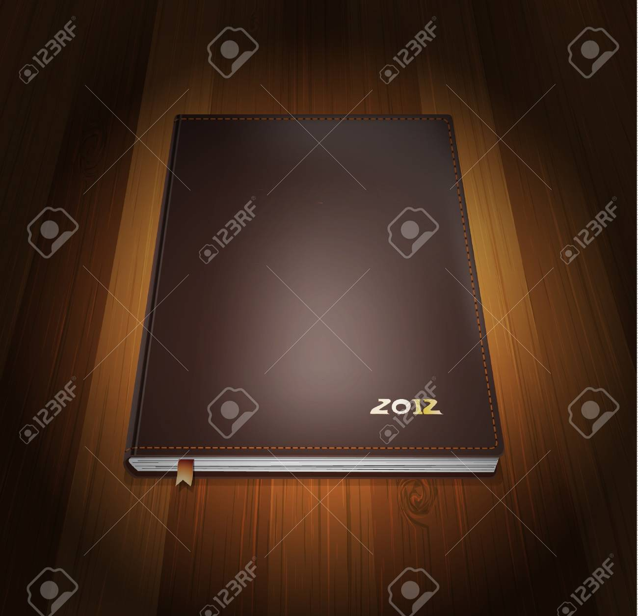 Diary in cover leather on wooden background Stock Vector - 12356549