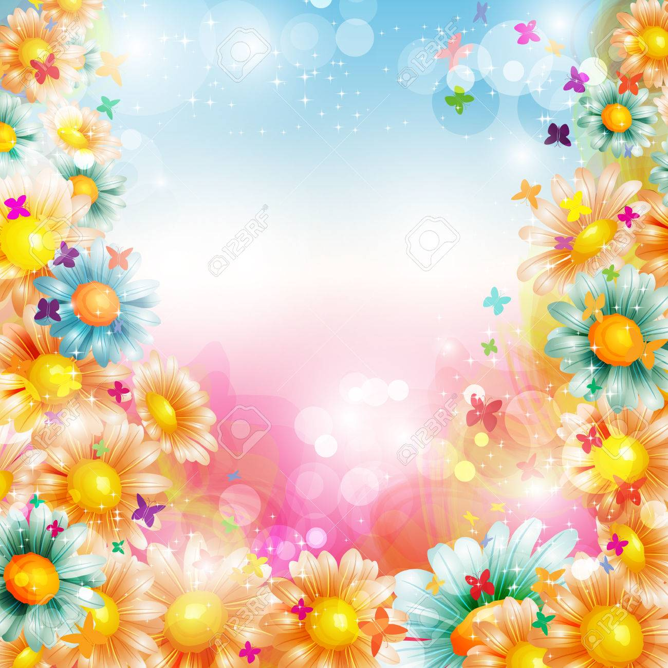 Abstract Colorful Bright Summer Or Spring Floral Background With
