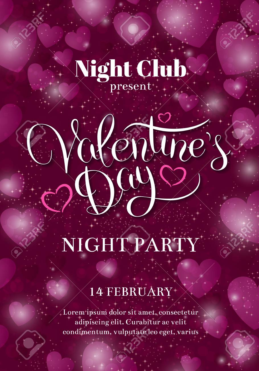 Valentines Day Party Flyer Invitation Royalty Free Cliparts Vectors