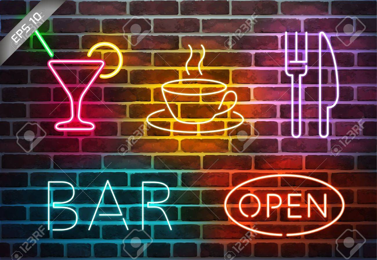 Neon Wall Signs neon signs on brick wall royalty free cliparts, vectors, and stock