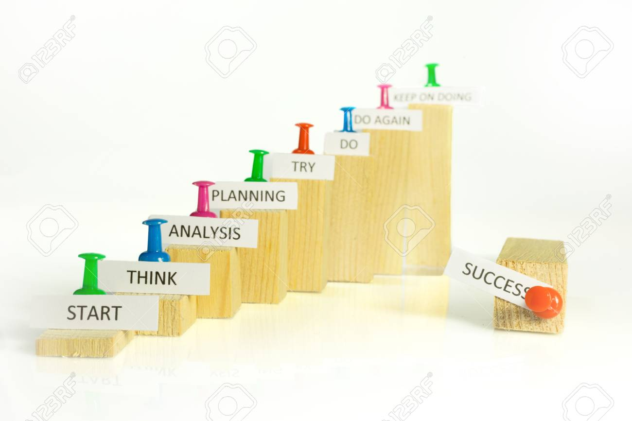 Steps With Signs To Climb The Ladder Of Success Stock Photo Picture And Royalty Free Image Image 95846181