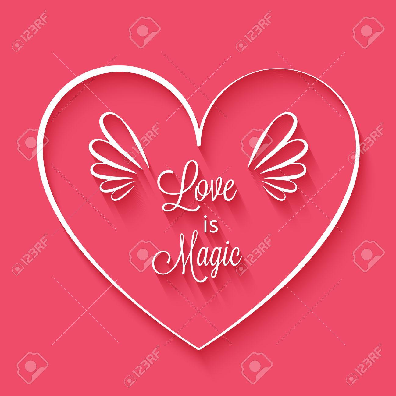 El Amor Es La Frase Mágica En El Marco Del Corazón Con Alas Lindo