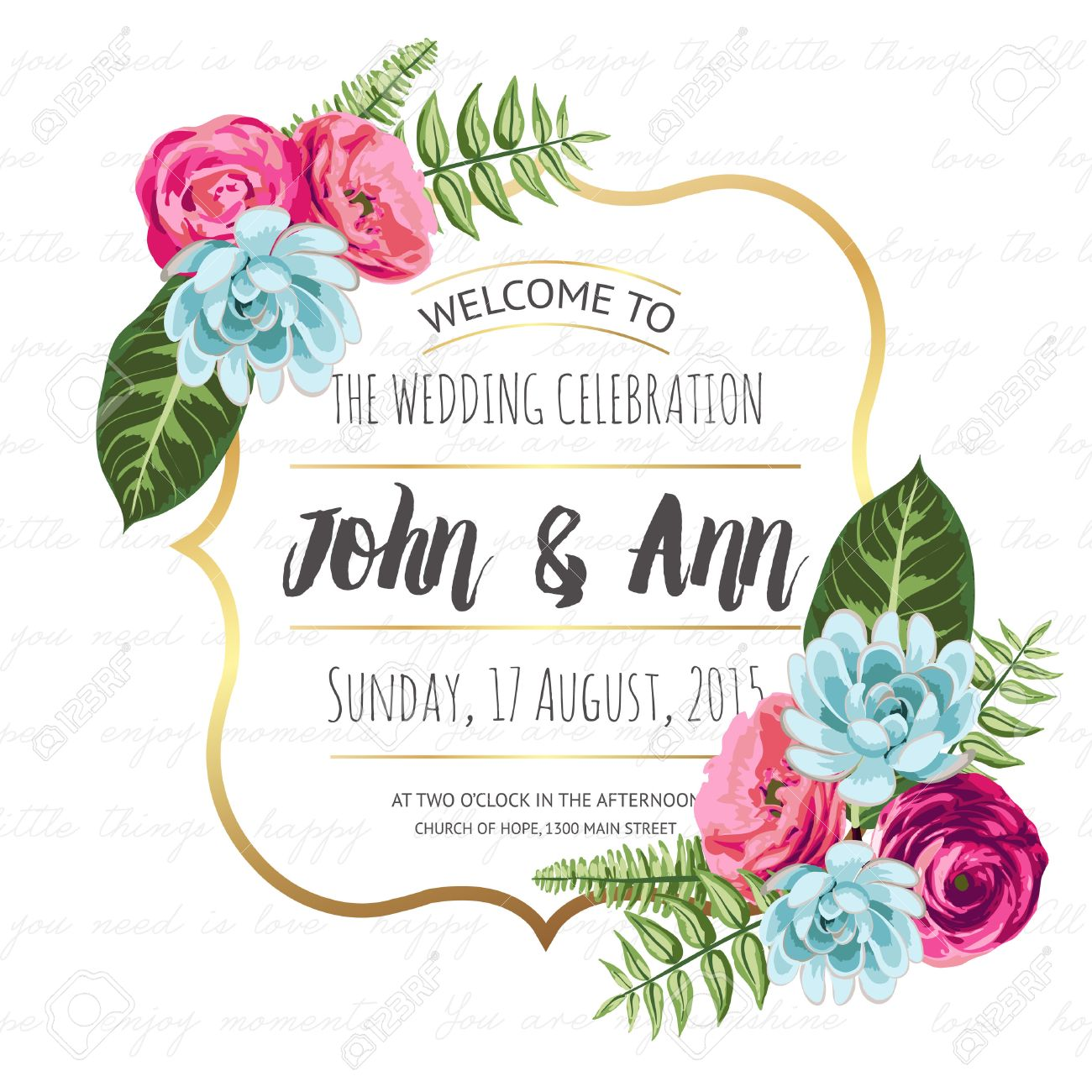 Wedding invitation card with painted flowers royalty free cliparts wedding invitation card with painted flowers stock vector 35994484 stopboris Choice Image