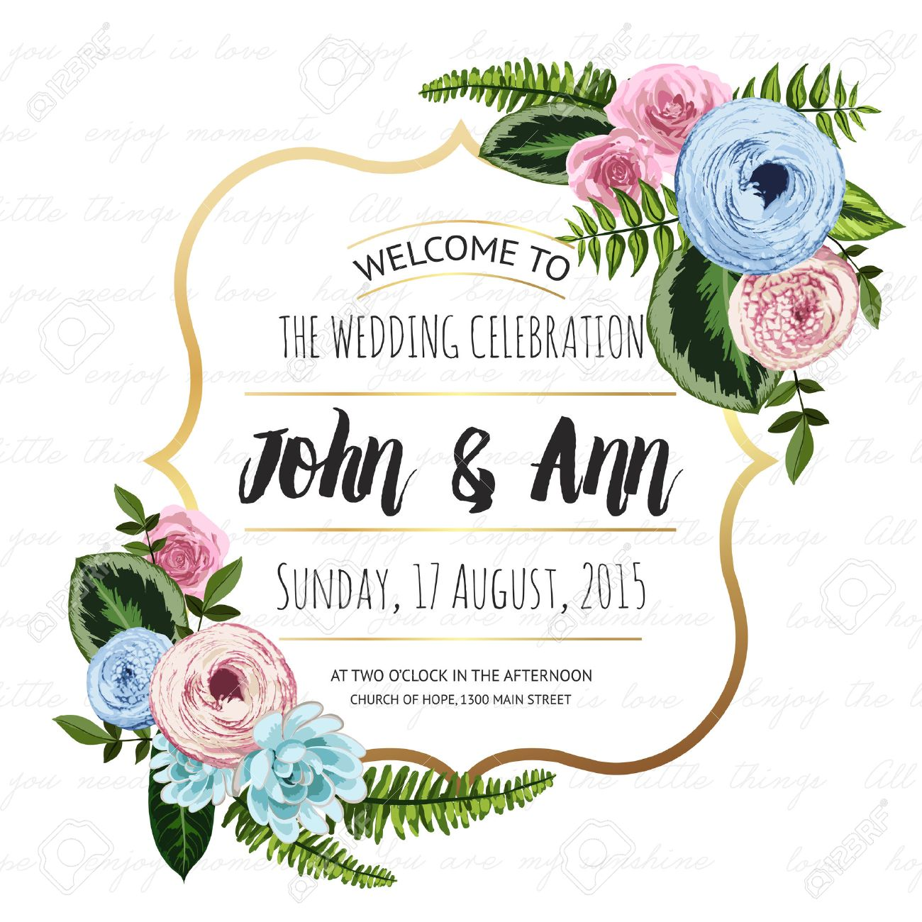Wedding Invitation Card With Painted Flowers And Plants On Seamless