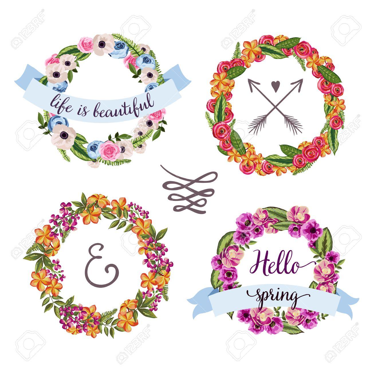 banque dimages set de 4 couronne vintage de fleur dessine la main