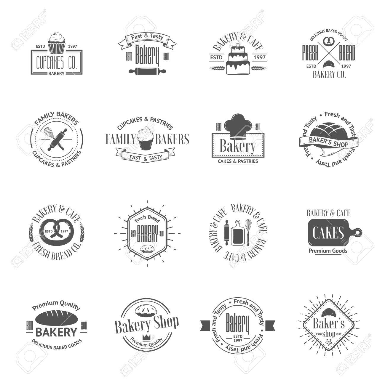 Vintage bakery badges, labels and logos - 37732362