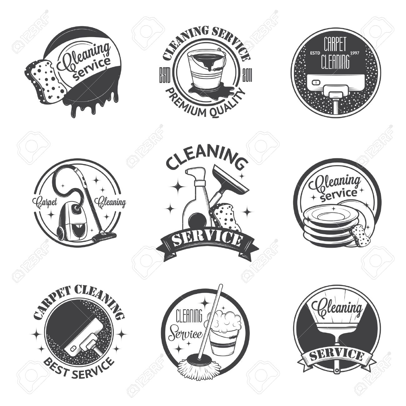 Set Of Vintage Logos, Labels And Badges Cleaning Services Royalty ...