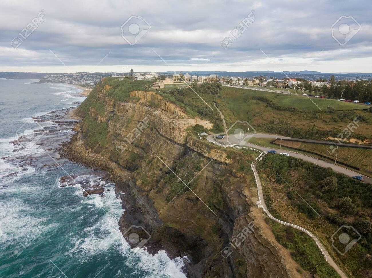 Aerial view of Newcastle coastline, Australia. - 153110645