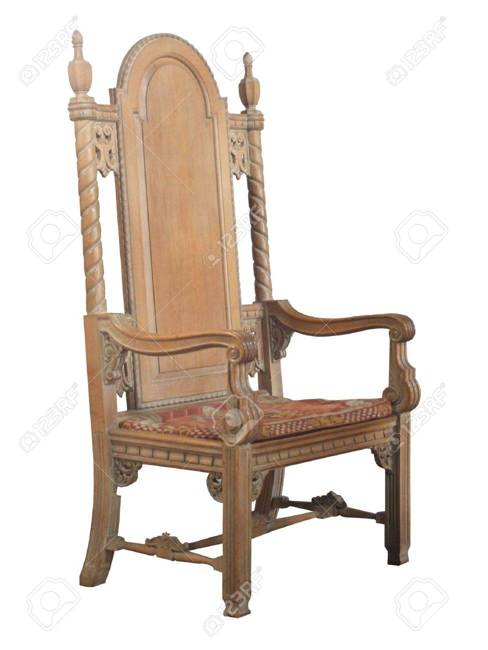 A Large Ancient Antique Wooden Church Chair. Stock Photo - 5691604 - A Large Ancient Antique Wooden Church Chair. Stock Photo, Picture