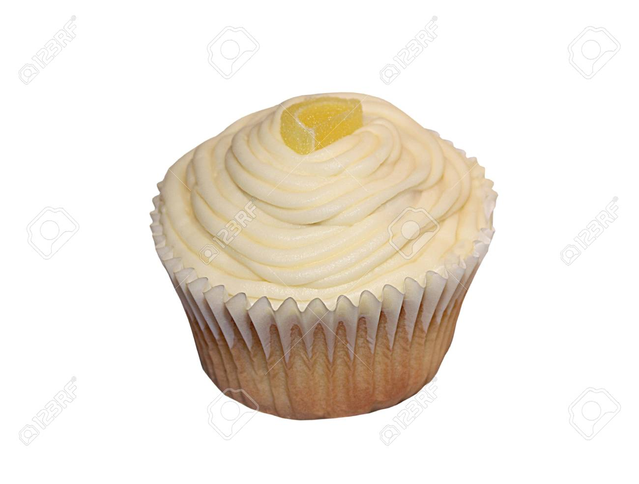 A Delicious Lemon Flavoured Iced Muffin Cup Cake. Stock Photo - 8438888