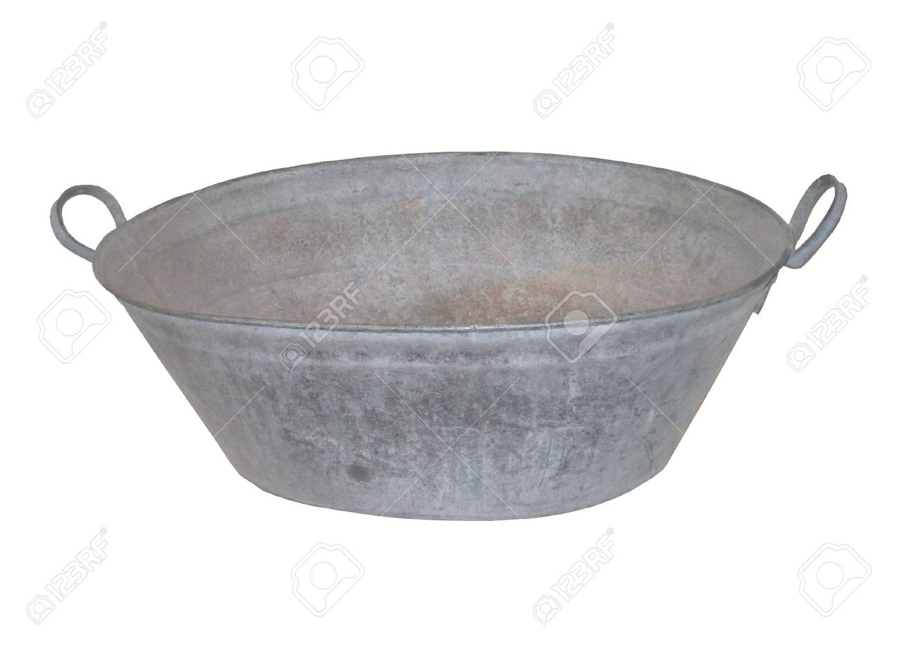An Antique Metal Galvanised Tin Bath Tub. Stock Photo, Picture And ...