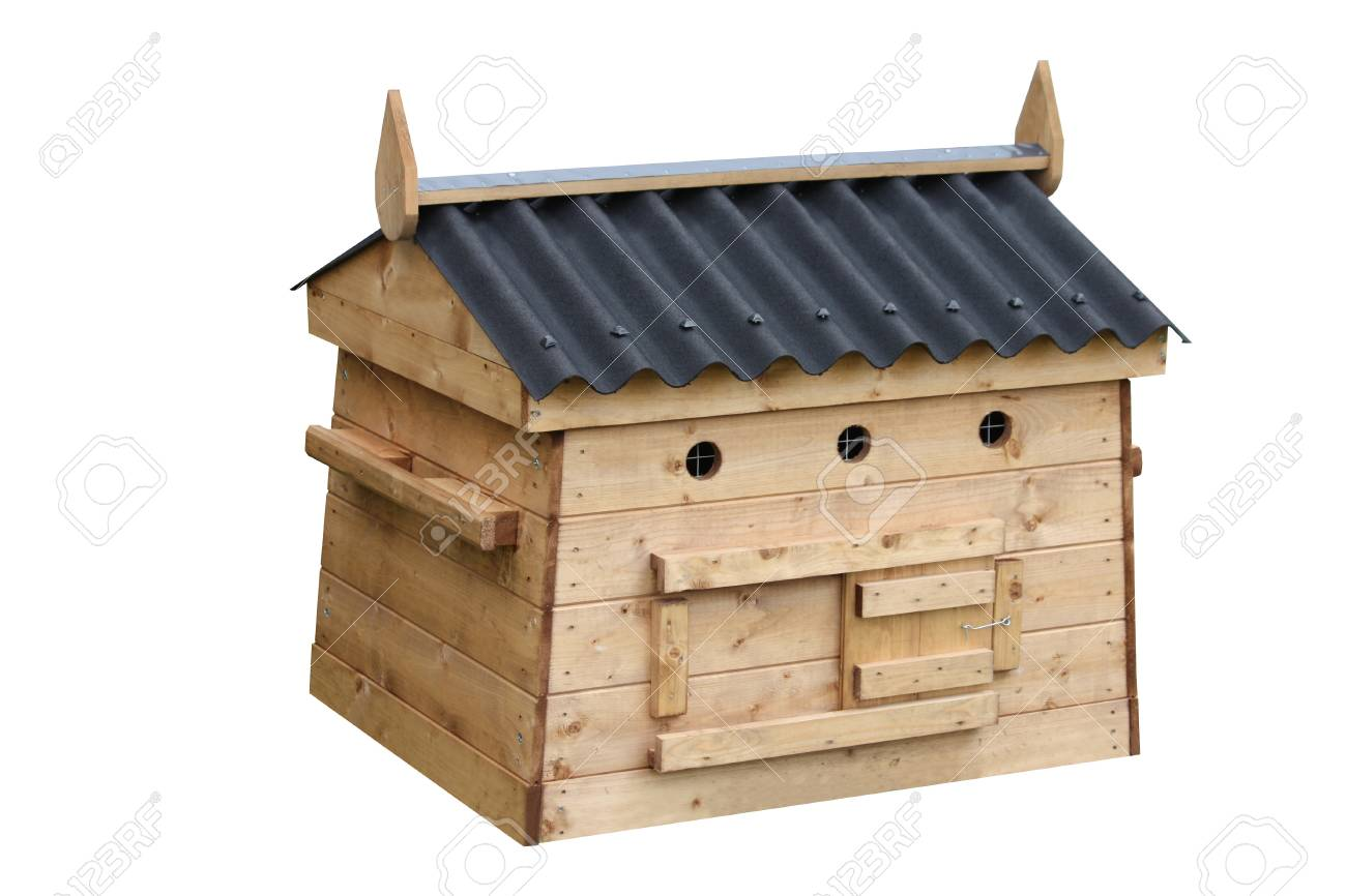 A Wooden House For Keeping Small Animals In Overnight Stock Photo