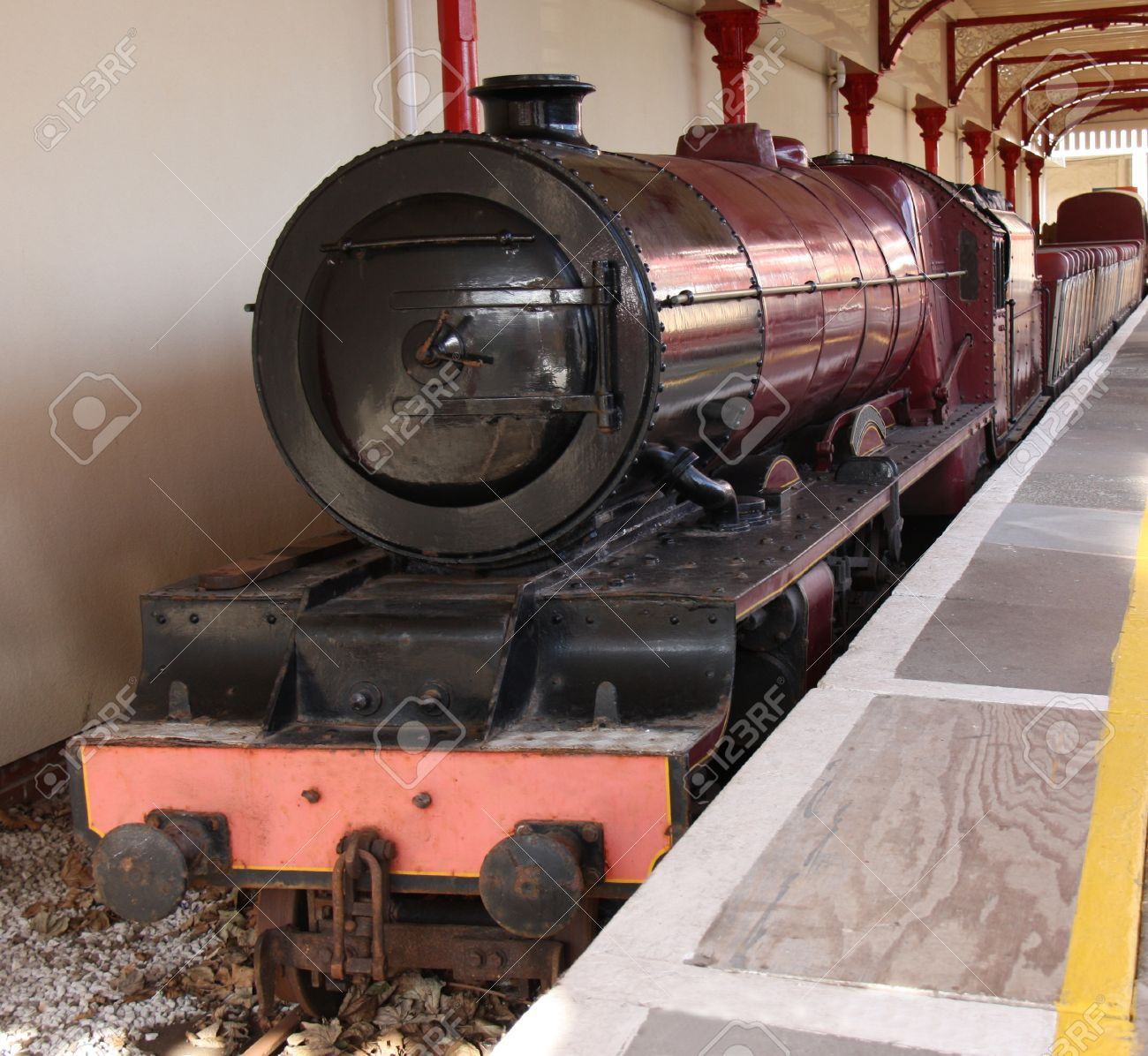 A Narrow Gauge Steam Train Engine and Carriages. Stock Photo - 16704755