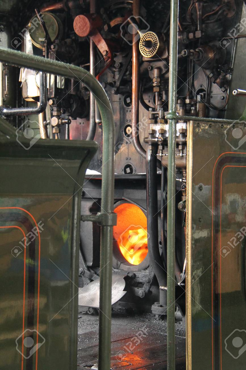 The Raging Boiler Fire Of A Steam Train Engine. Stock Photo, Picture ...
