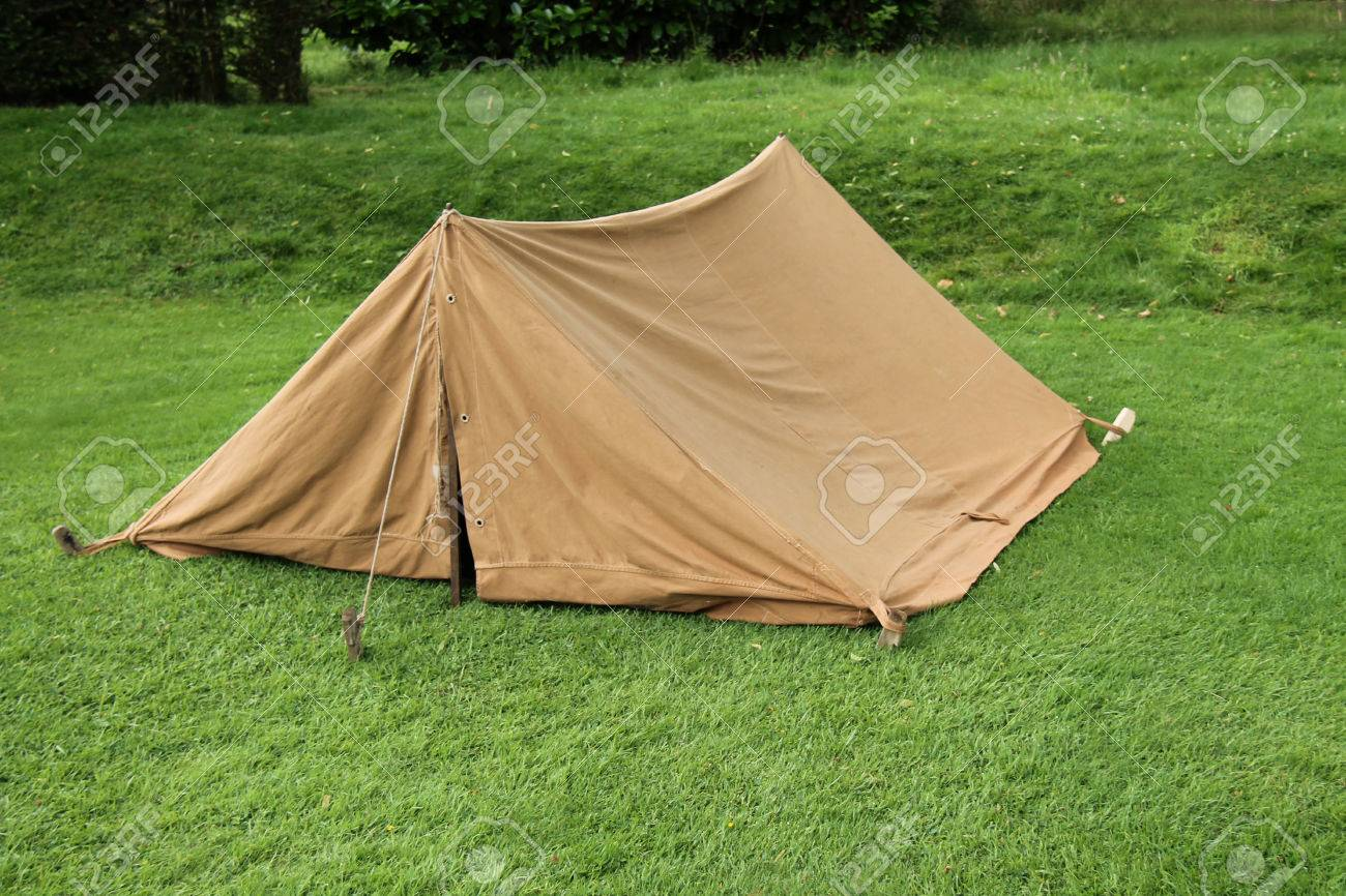 A Vintage Brown Canvas Two Person Ridge Tent Stock Photo - 27661579 & A Vintage Brown Canvas Two Person Ridge Tent Stock Photo Picture ...