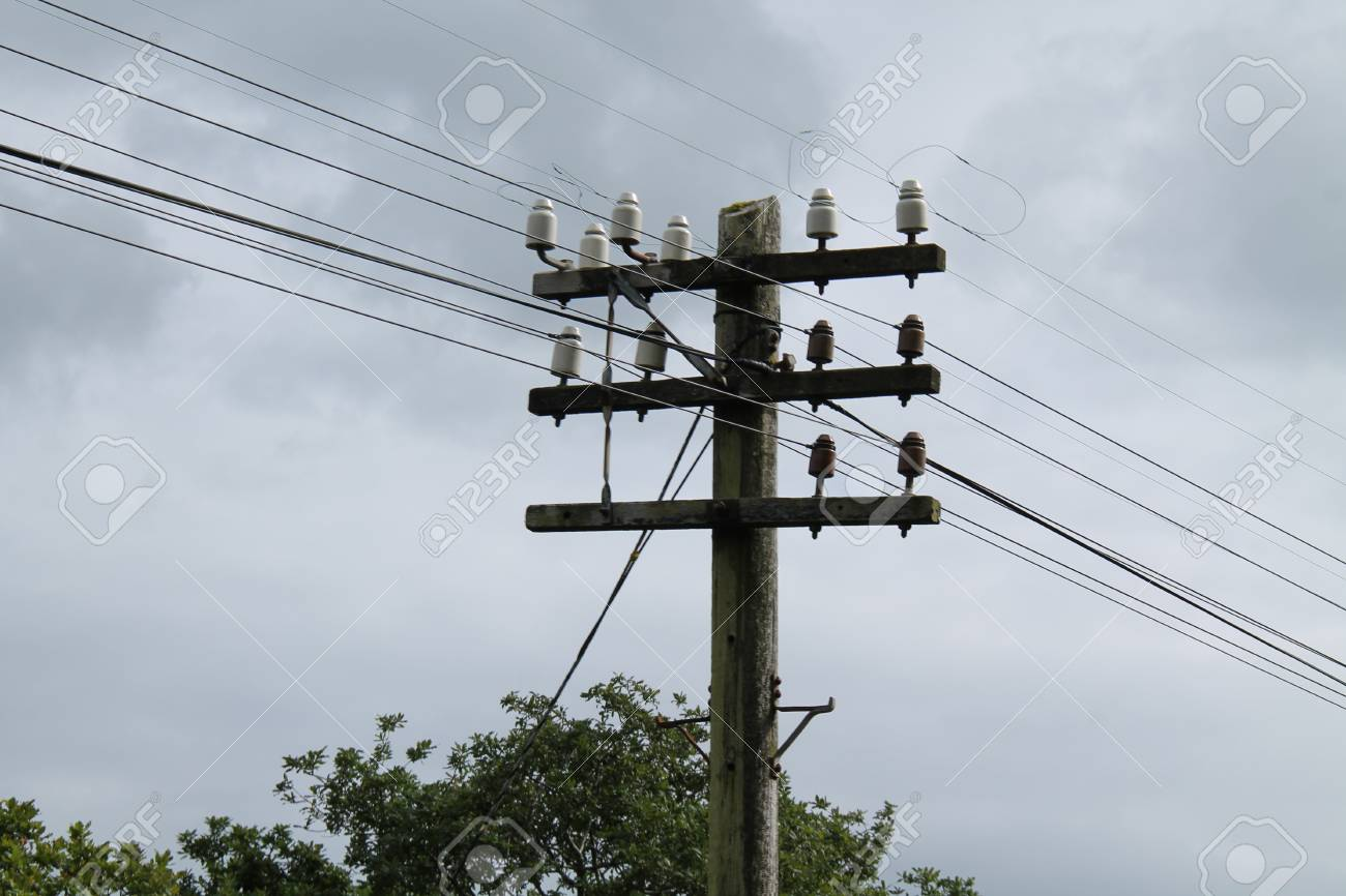 A Wooden Telegraph Pole To Hold Telephone Wires. Stock Photo ...