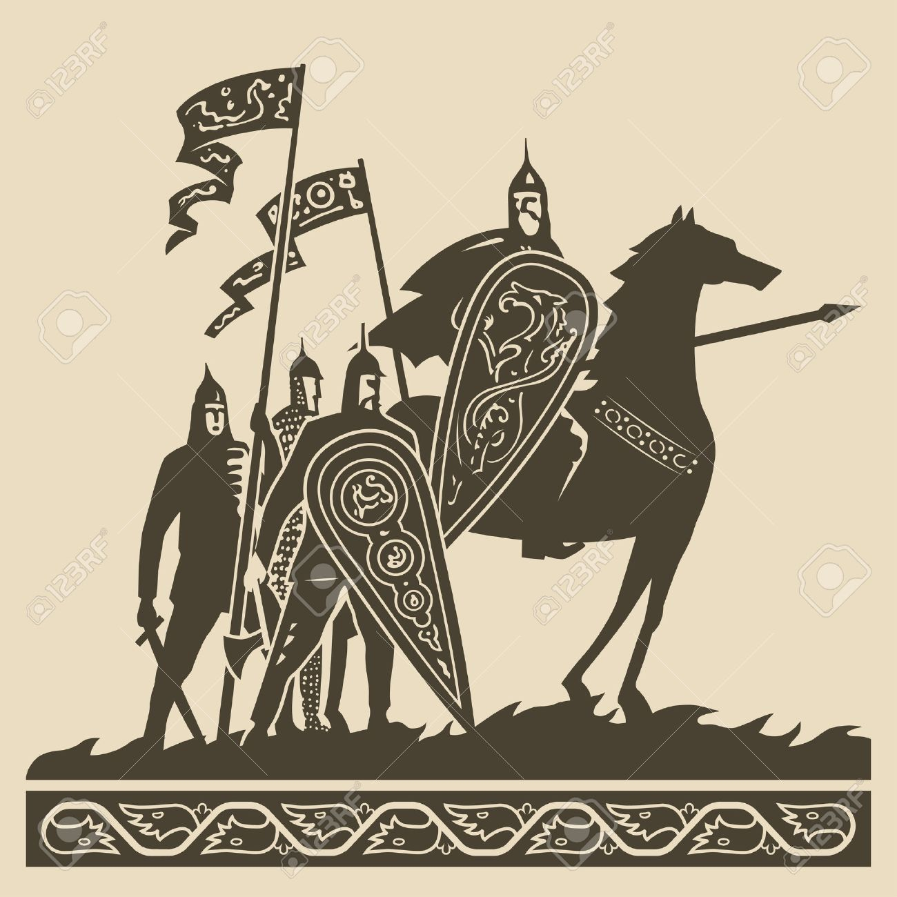 Medieval knights in full armor with large decorated shields and waving standards standing on the battlefield awaiting of the battle vector illustration - 30442653