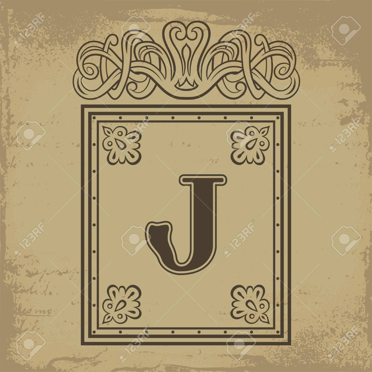 Capital Letter J In Old Russian Style Vector Illustration Royalty