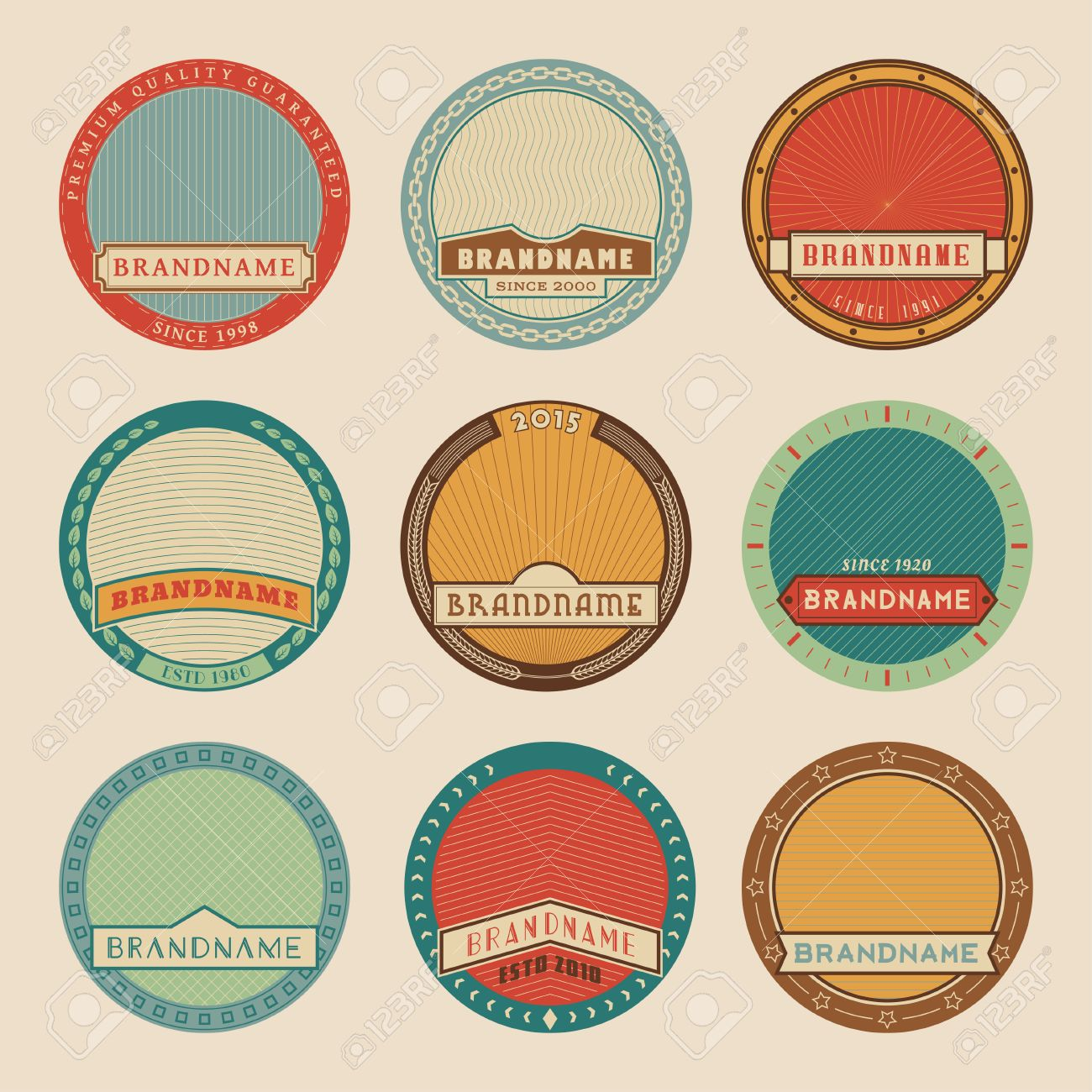 Set Of Color Vector Round Label TemplatesLogotypes And Badges