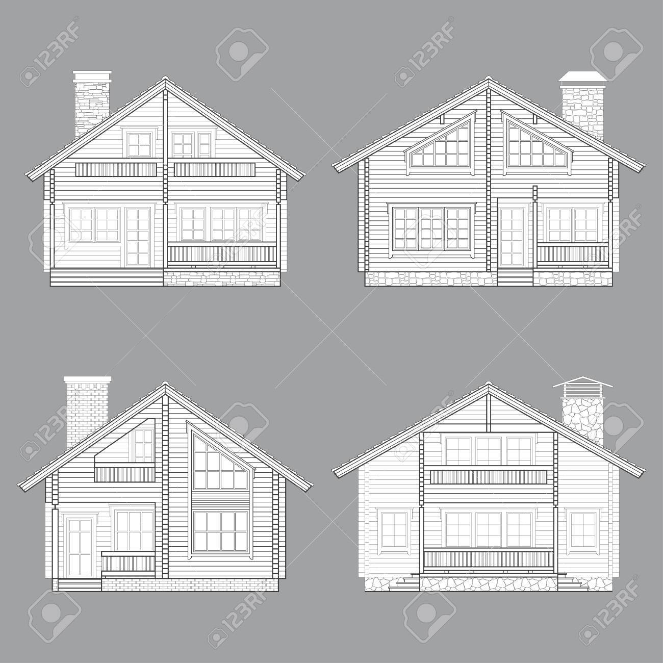 Set Of Vector Linear Facades Of Log Houses.Wooden Residential ...