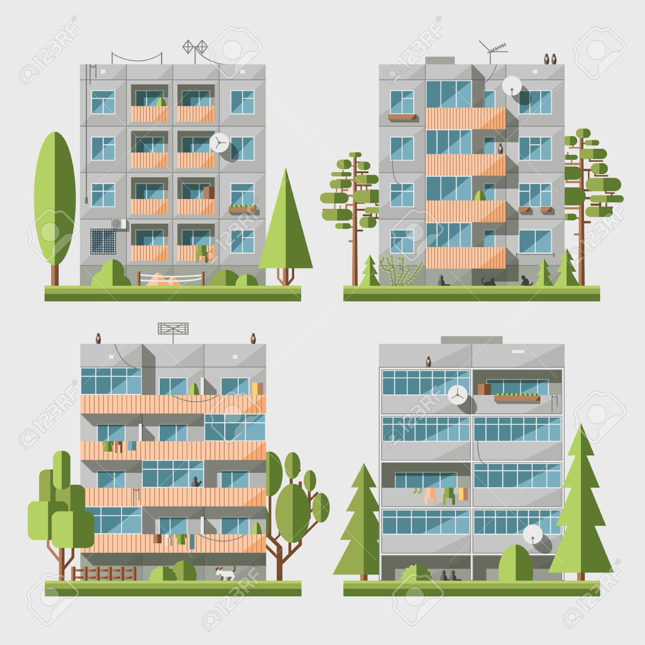 Set of vector flat style facades of panel houses  Classic blocks