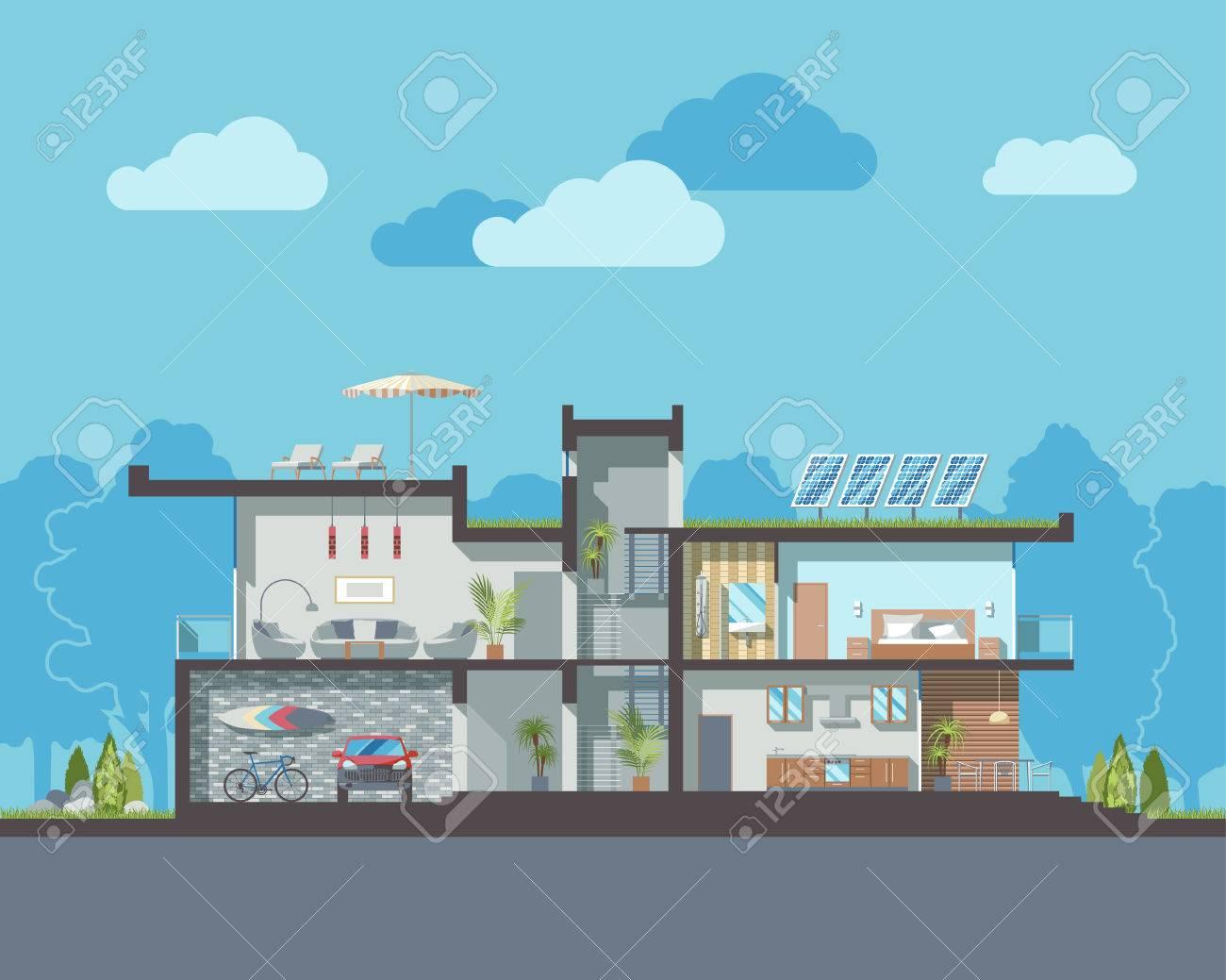Modernen Luxus-Wohn-zweistöckiges Haus Vektor-Bereich Mit ...