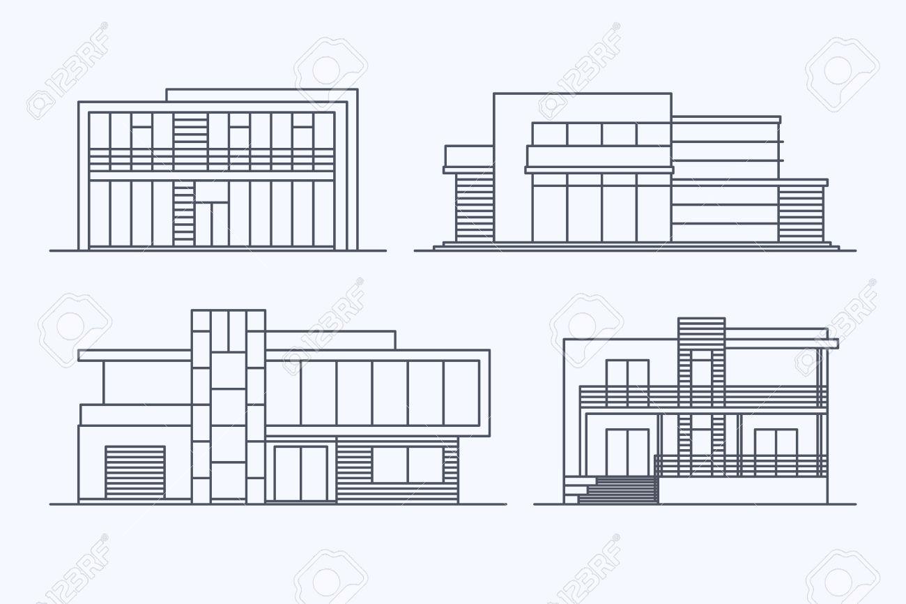 Conjunto De Varias Casas Modernas Lineales Del Vector Del Diseño ...