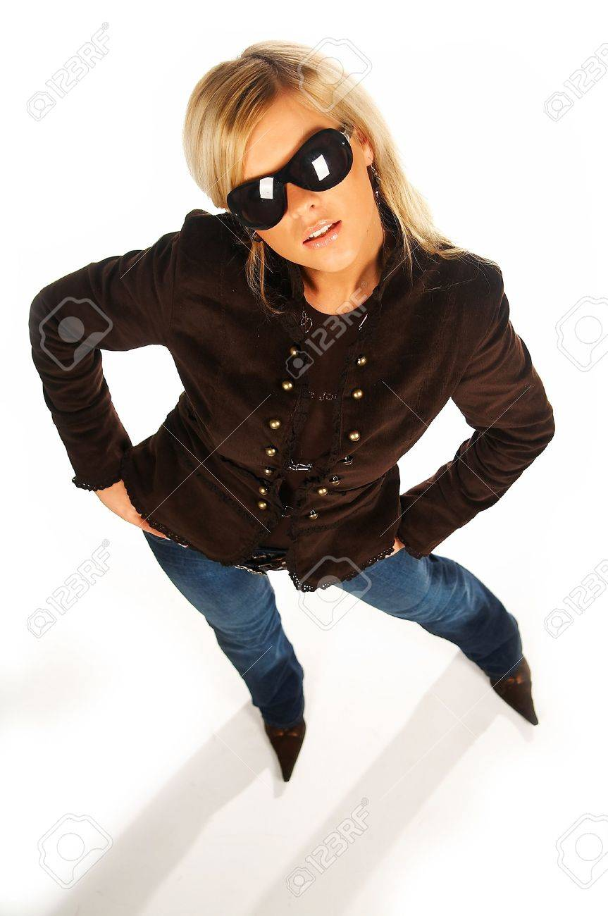 Blonde girl with black sunglasses on white Stock Photo - 339729