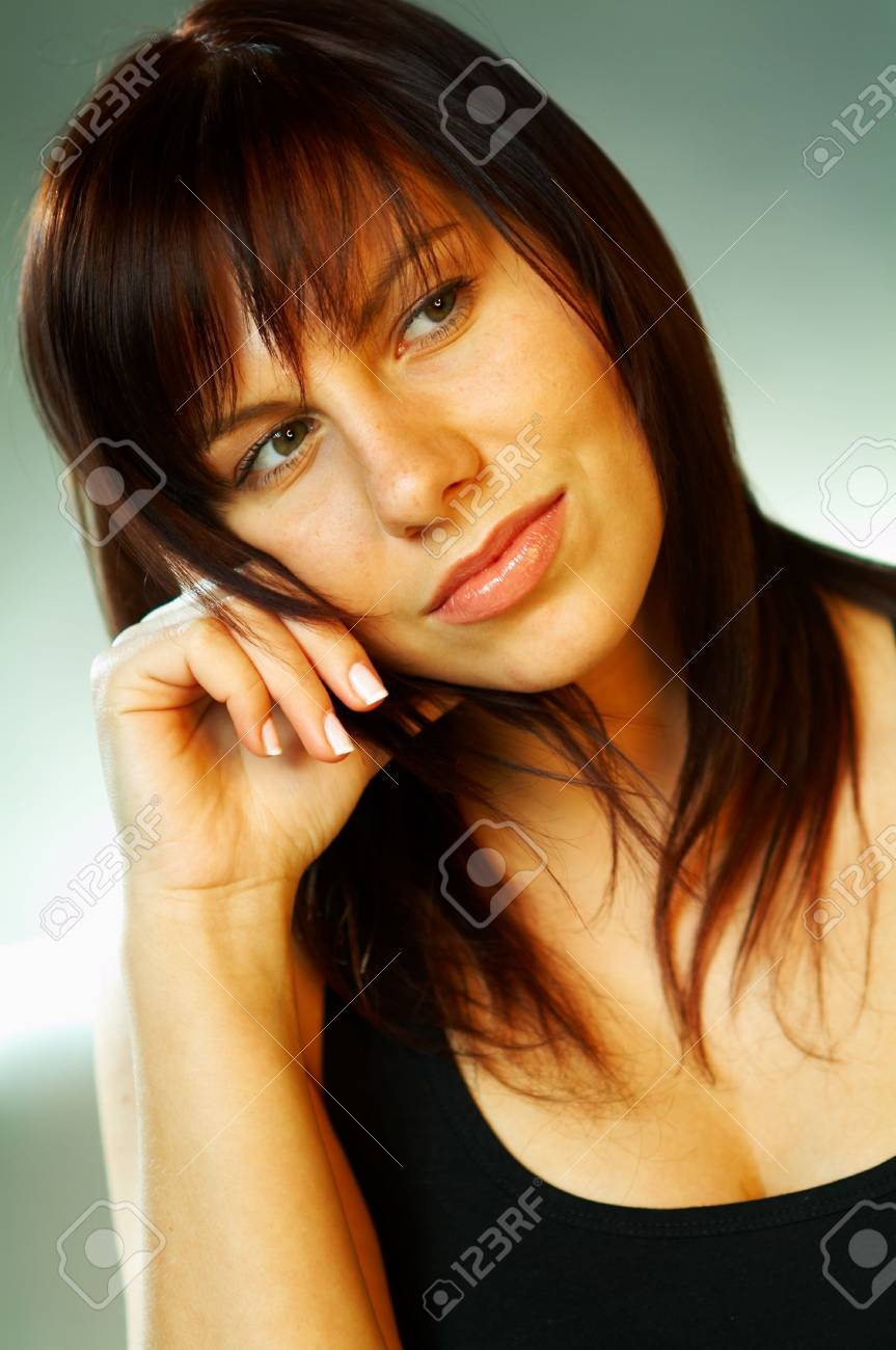 Emotions Brunette Portrait close up Stock Photo - 340953