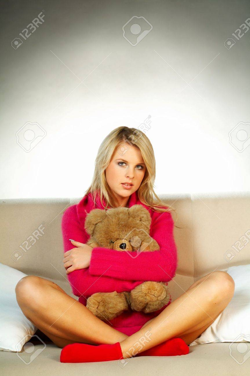 y blonde girl with teddy bear Stock Photo - 350003