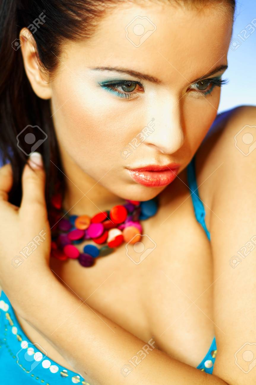 Portrait of attractive beautiful young sexy woman with blue makeup Stock Photo - 393125