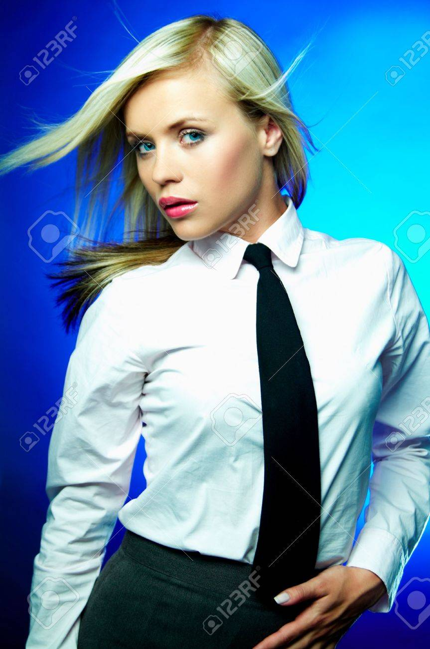 Sexy Young Business Woman Wearing White Shirt And Black Tie Stock ...