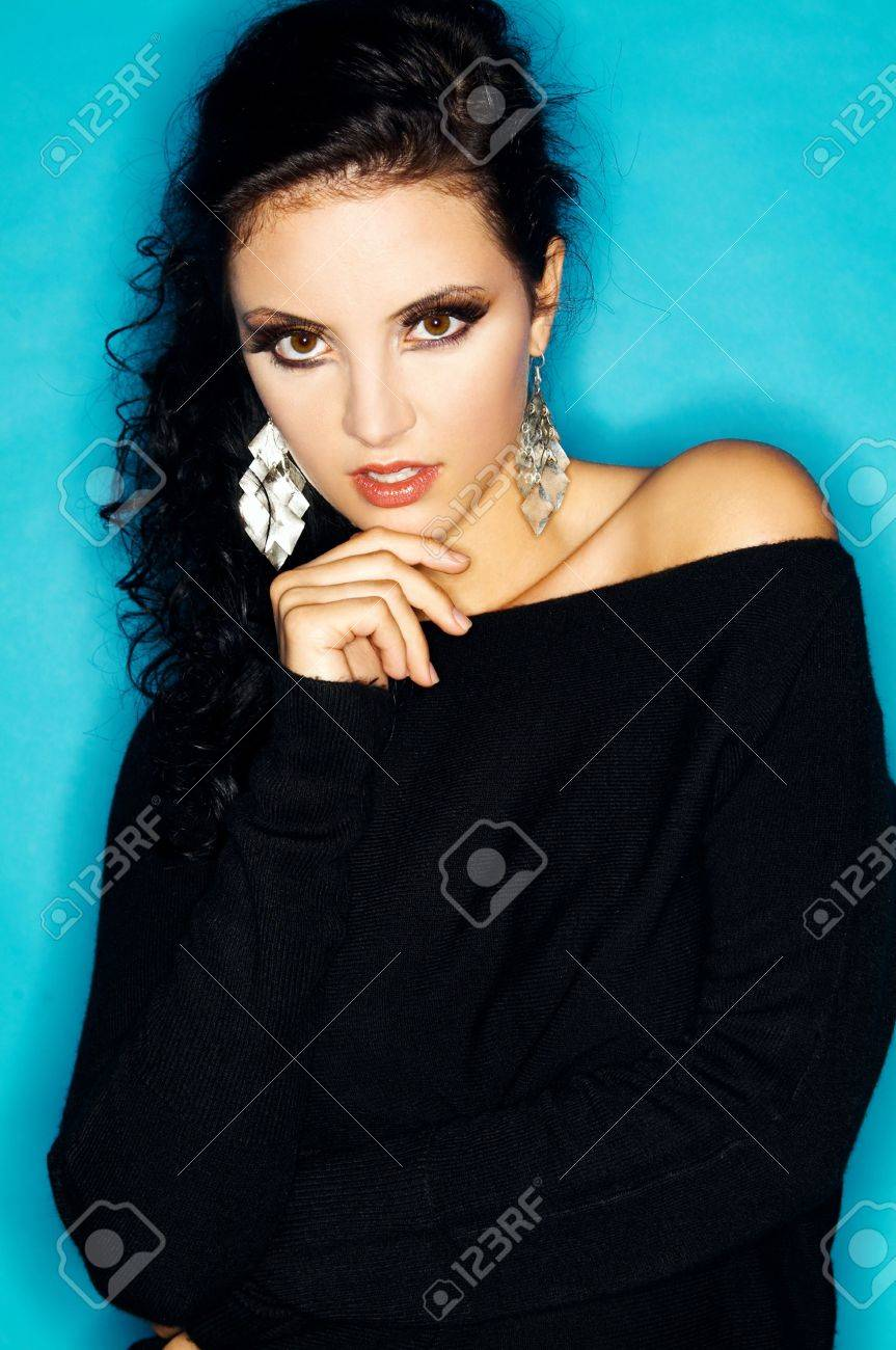Portrait of attractive beautiful young sexy woman with artificial eyelashes and beautiful makeup Stock Photo - 566375