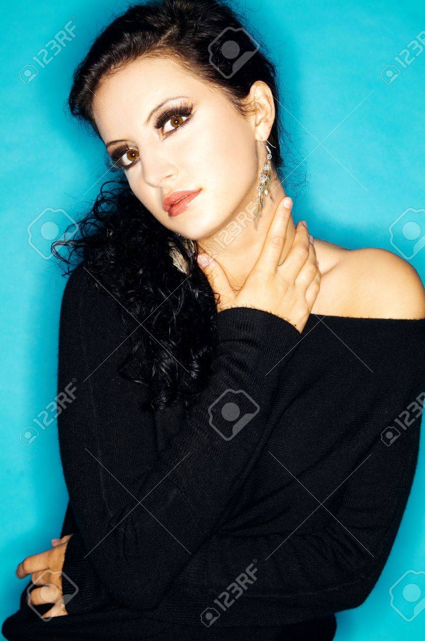 Portrait of attractive beautiful young sexy woman with artificial eyelashes and beautiful makeup Stock Photo - 566374