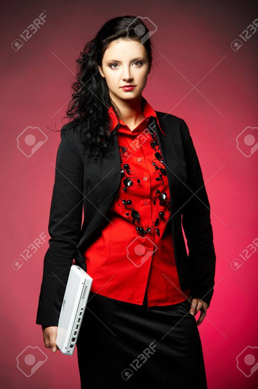 Young Business Woman Wearing Red Shirt And Black Jacket With ...