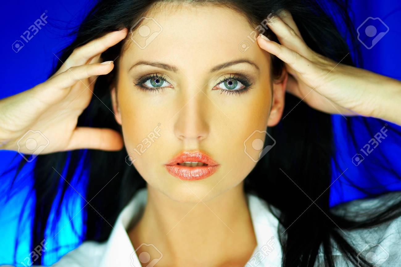 Portrait of beautiful woman wearing white shirt Stock Photo - 637342