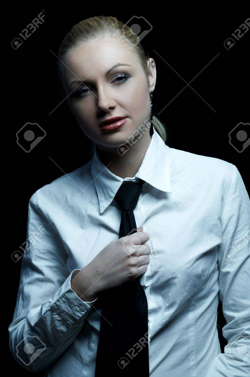 Beautiful Business Woman Wearing Black Tie And White Shirt ...