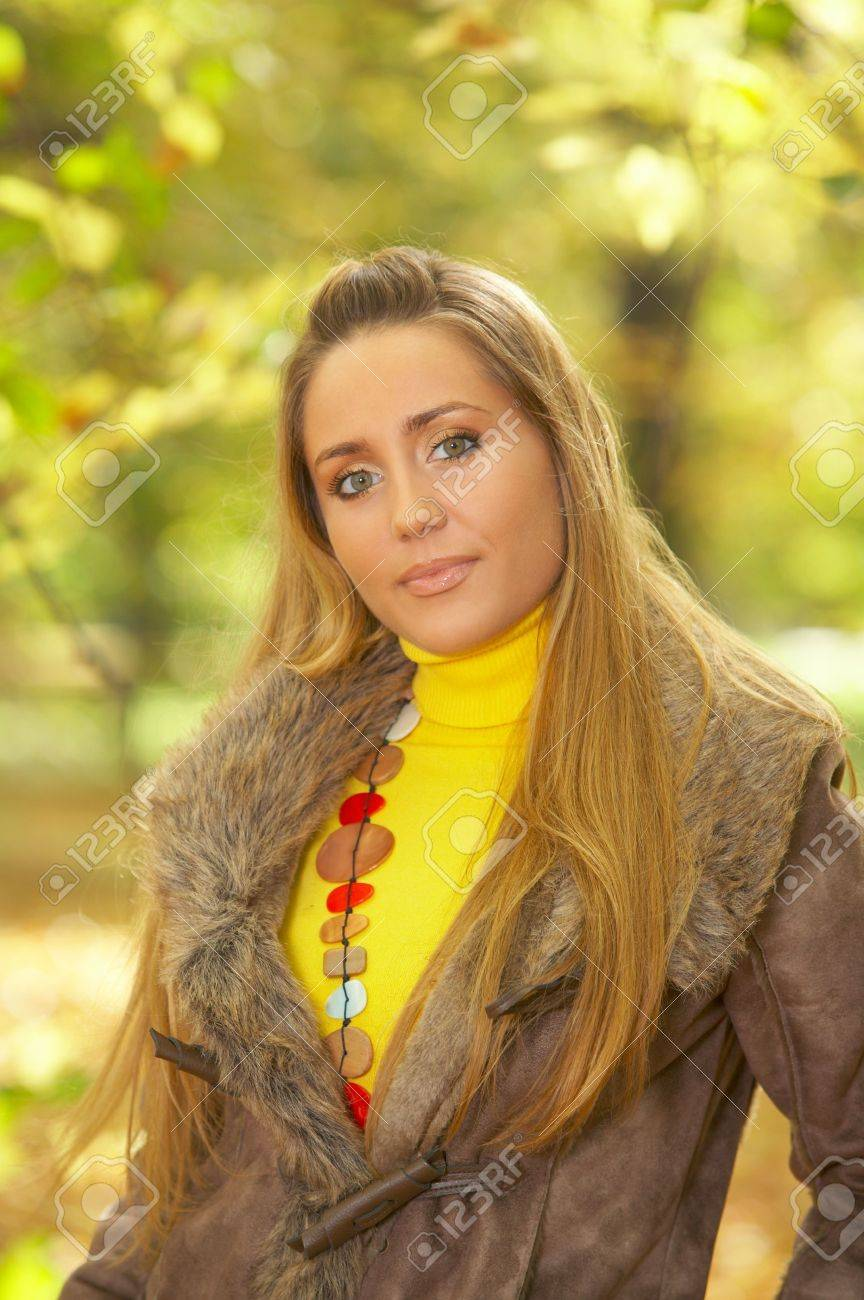 20-25 years old beautiful sexy woman portrait in natural autumn