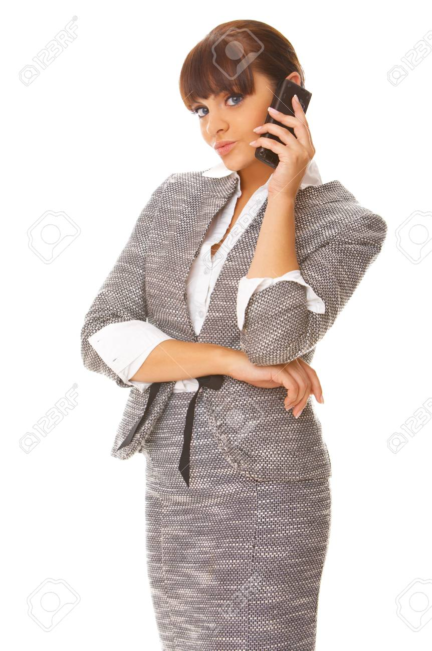 Beautiful business woman is using mobile telephone Stock Photo - 3344620