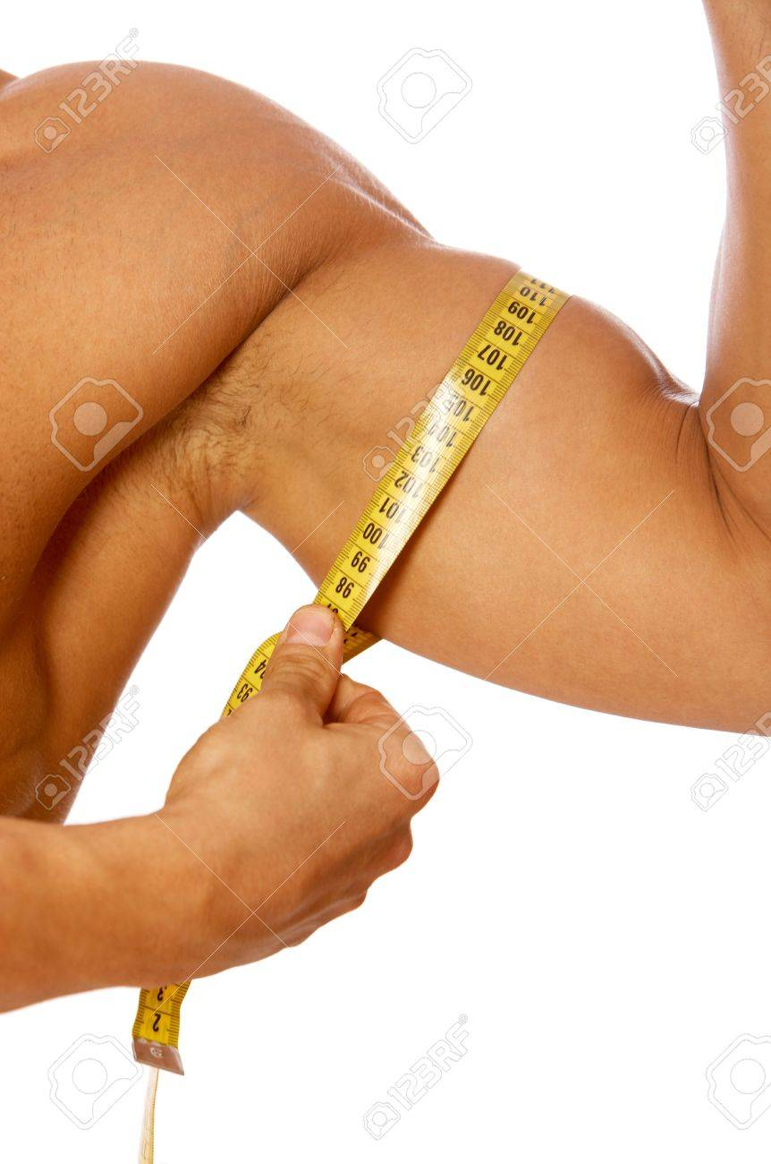 Muscular And Tanned Male Body Parts Is Being Measured Stock Photo ...