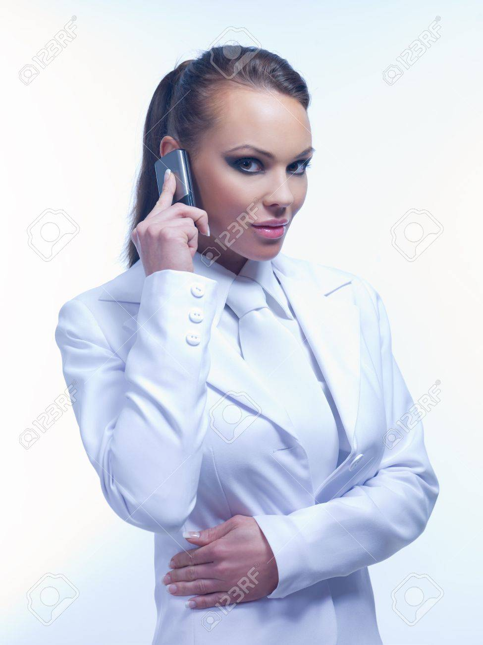 Portrait of Urban Business woman wearing white suit Stock Photo - 5489004