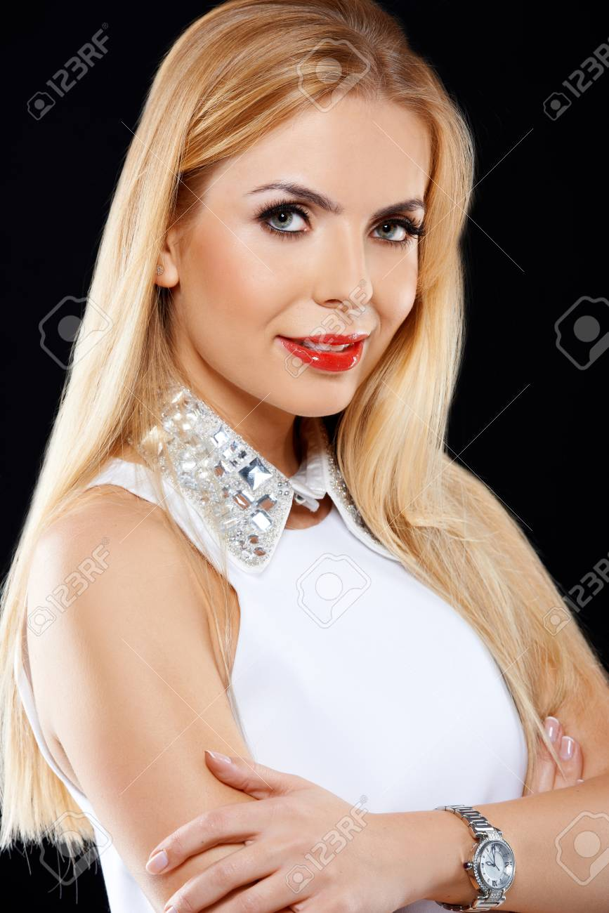 Portrait of elegant blond girl wearing a white dress Stock Photo - 17968893
