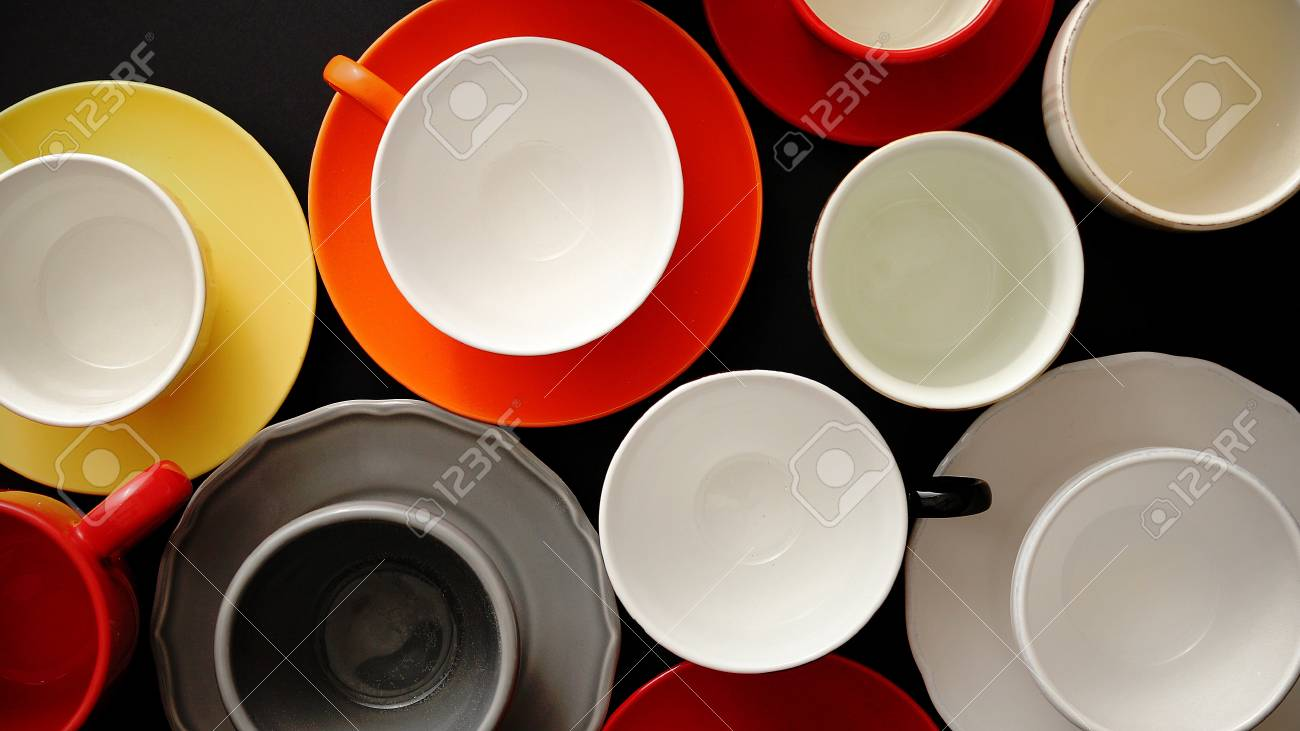 Empty Colorful Modern Ceramic Plates And Cups Collection Various Stock Photo Picture And Royalty Free Image Image 109680113