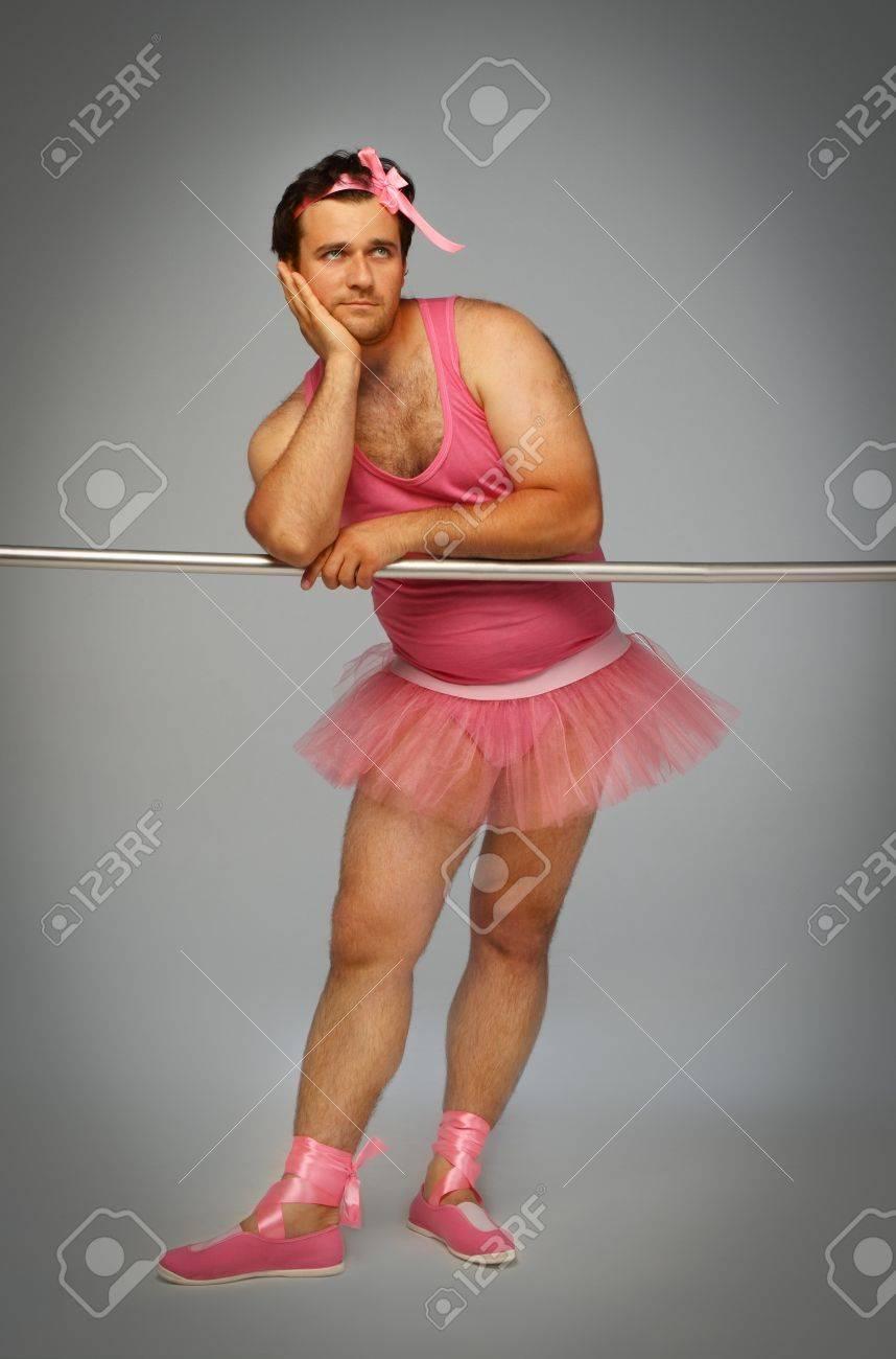 Crazy ballerina. Man wearing ballerina suit in pink color Stock Photo - 9642841