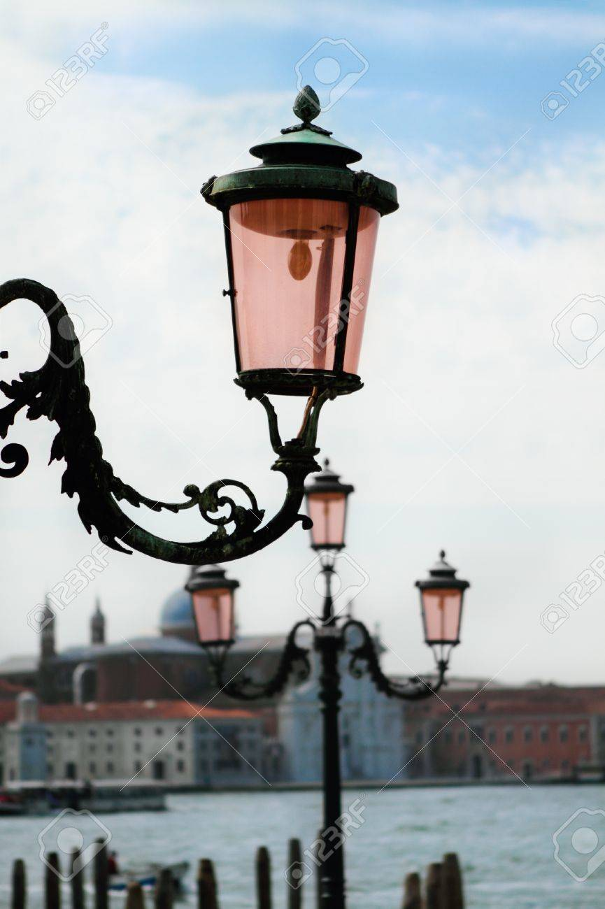 Grand Canal Scene with close up of street lights, Venice, Italy Stock Photo - 9993211