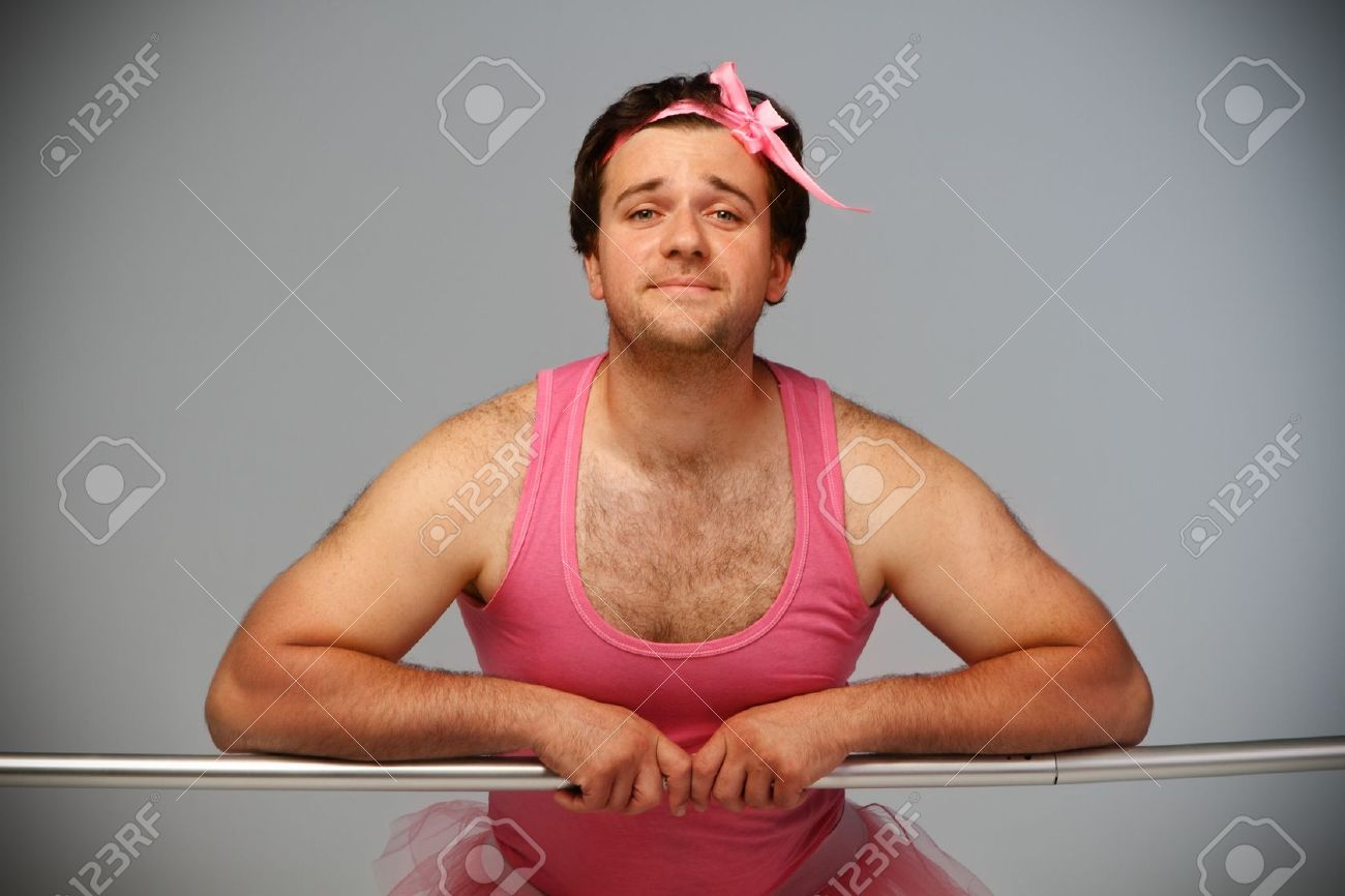 Crazy ballerina. Man wearing ballerina suit in pink color Stock Photo - 10451951