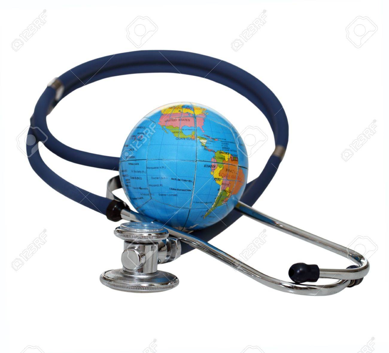 Stethoscope with globe isolated on a white background Stock Photo - 10934017