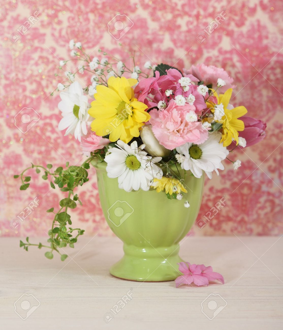 Bouquet Of White Yellow And Pink Flowers In The Green Vase Stock